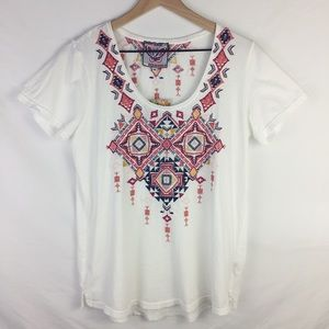 {johnny was} aztec embroidered tee